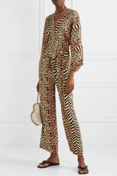 Ehara Paneled Printed Crinkled-Voile Wrap Shirt