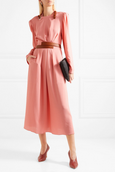 Faux Leather-Trimmed Crepe Dress