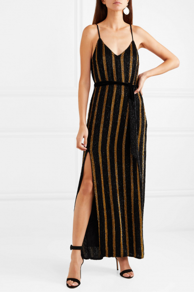 Rebecca Velvet-Trimmed Chiffon Maxi Dress